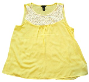 H&M Top Yellow/White