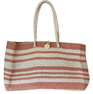 Other Beach Pool Straw Double Handles Shopping Tote in Natural and Rust