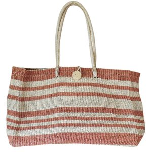 Other Beach Pool Straw Double Handles Shopping Natural and Rust Beach Bag