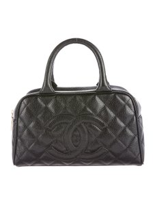 Chanel Caviar Leather Leather Satchel in Black