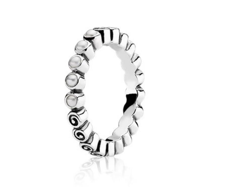 7424dac852900 PANDORA White Ocean's Treasure Pearl Band In Sterling Silver Ring 38% off  retail