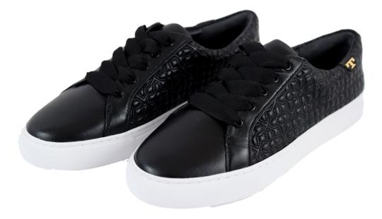 Tory Burch Sneaker Quilted Leather Bryant Black Flats Image 1