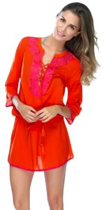 Shiraleah short dress Red Cover Up Embroidered Tie Waist Beach Short on Tradesy