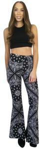 See You Monday Bell Yoga Boho Printed Flare Pants Black, White