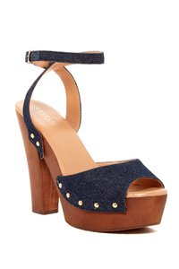 Cecelia of New York Platform Wedge Denim Blue Denim Sandals