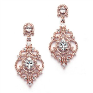 Mariell Gorgeous 14k Rose Gold Crystal Chandelier Bridal Earrings
