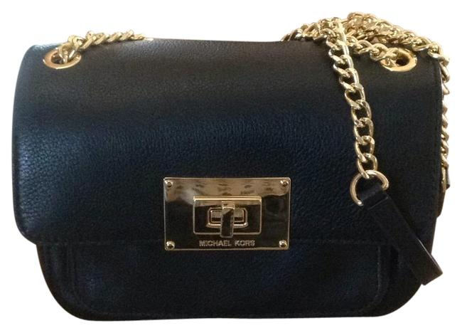 Michael Kors Night Out Black with Goldtone Accents Leather Shoulder Bag Michael Kors Night Out Black with Goldtone Accents Leather Shoulder Bag Image 1