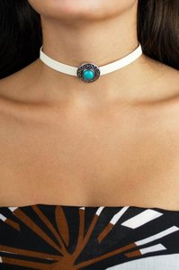 Daisy Del Sol Handmade Thick White Faux Suede Turquoise Slide Charm Choker Necklace