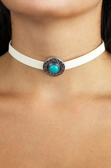 Daisy Del Sol Handmade Thick White Faux Suede Turquoise Slide Charm Choker Necklace Image 1