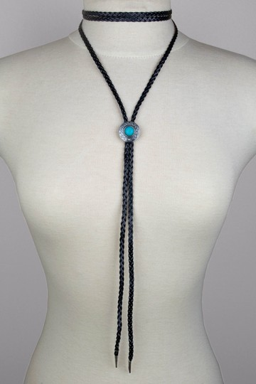Daisy Del Sol Black Braided Faux Leather Turquoise Slide Bolo Tie Choker Necklace Image 1