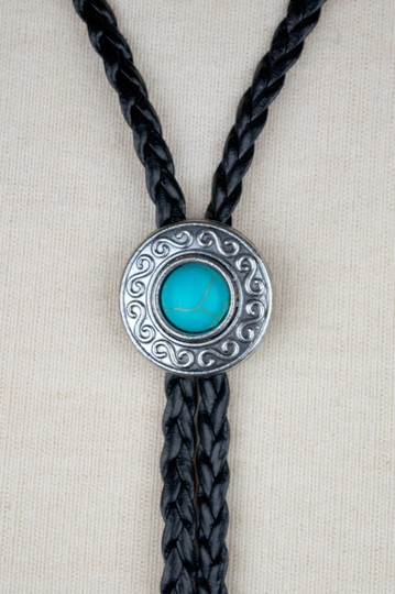 Daisy Del Sol Black Braided Faux Leather Turquoise Slide Bolo Tie Choker Necklace Image 3