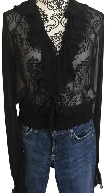 Laundry by Shelli Segal Black Blouse Size 4 (S) Laundry by Shelli Segal Black Blouse Size 4 (S) Image 1