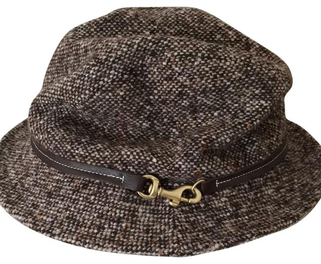 Item - Brown Tweed with Brown Leather Trim and Gold Hardware Hat