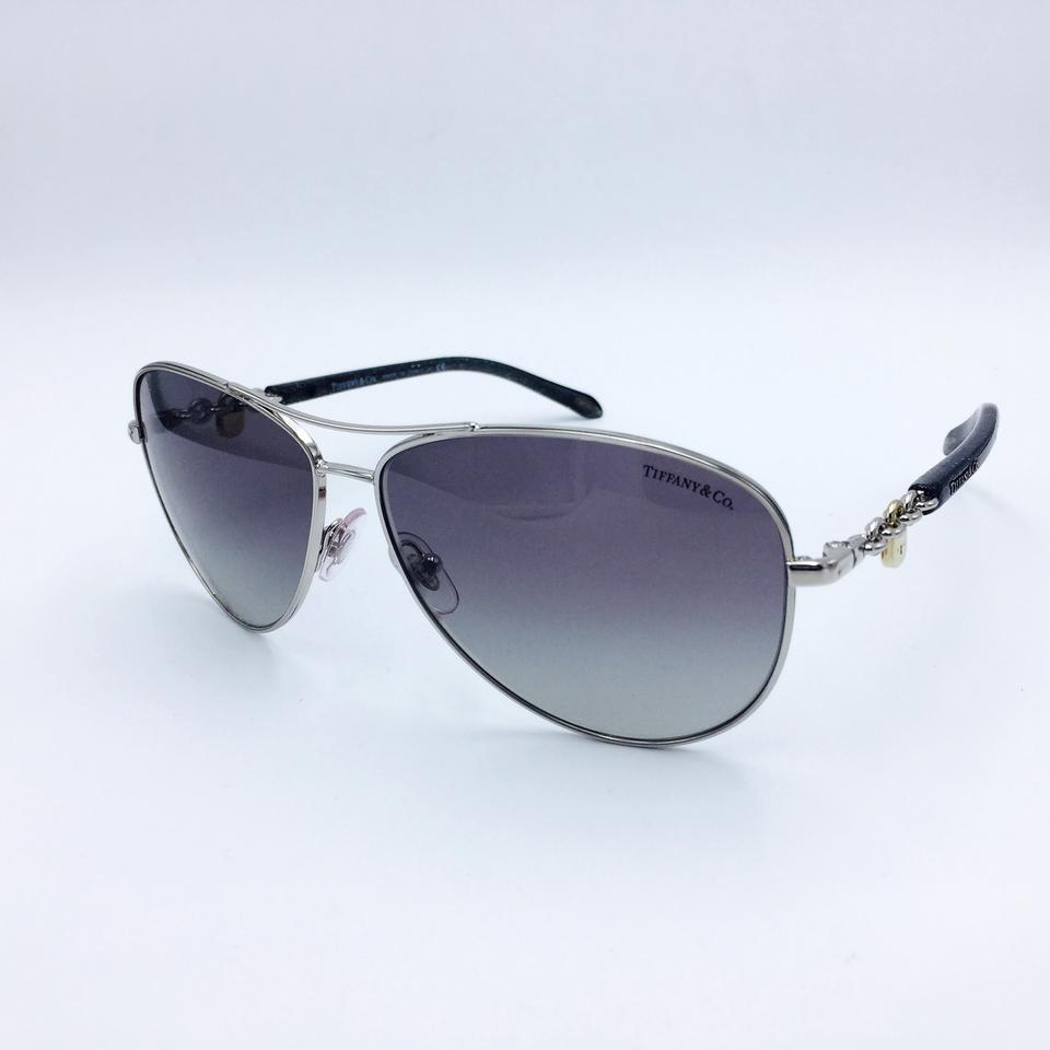 446f609ddf2 Tiffany   Co. Aviator Pilot Glitter Silver Gray Chain Sunglasses TF 3034  6001 3C. 12345678