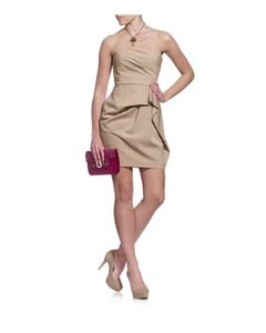 BCBGMAXAZRIA short dress Khaki Strapless Pleated Shift Sheath on Tradesy