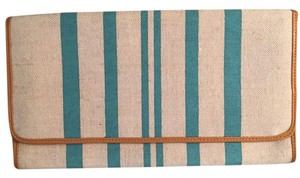 Shiraleah Striped Woven Linen Natural and Turqouise Clutch