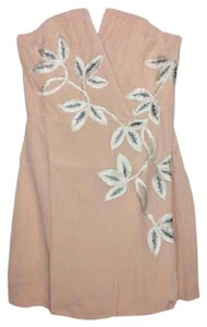 Free People Lined Catching Shimmer Appliques Back Corset Boning Strapless Flattering Dress
