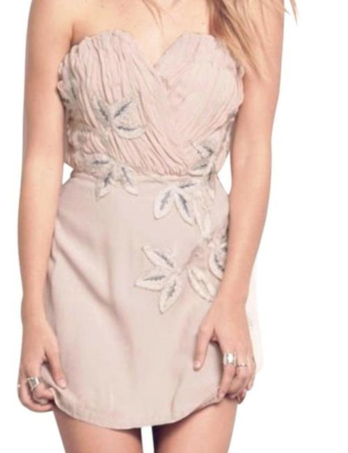 Free People Lined Catching Shimmer Appliques Back Corset Boning Strapless Flattering Dress Image 1
