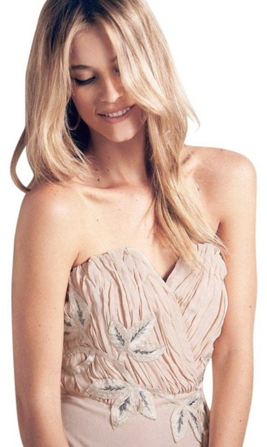 Free People Lined Catching Shimmer Appliques Back Corset Boning Strapless Flattering Dress Image 3