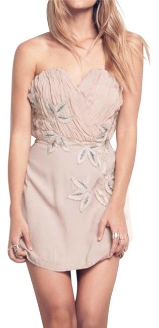 Free People Lined Catching Shimmer Appliques Back Corset Boning Strapless Flattering Dress Image 5