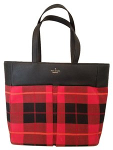 Kate Spade New York Plaid Buffalo Red Tote in Red Plaid