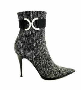 Casadei Ankle Tweed Rhinestone Black and white Boots