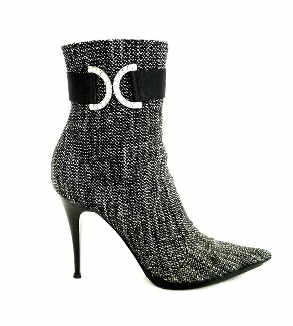 Casadei Black and White Tweed Stiletto Boots/Booties Size US 9 Regular (M, B) Casadei Black and White Tweed Stiletto Boots/Booties Size US 9 Regular (M, B) Image 1