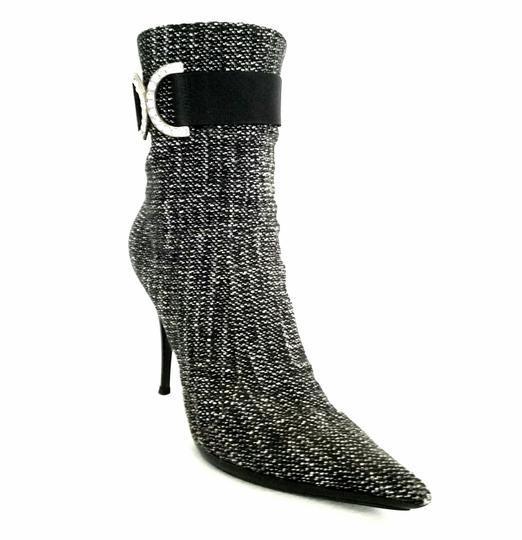 Casadei Ankle Tweed Rhinestone Black and white Boots Image 1
