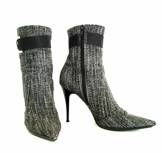 Casadei Ankle Tweed Rhinestone Black and white Boots Image 2