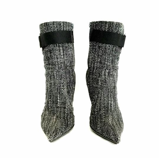 Casadei Ankle Tweed Rhinestone Black and white Boots Image 3
