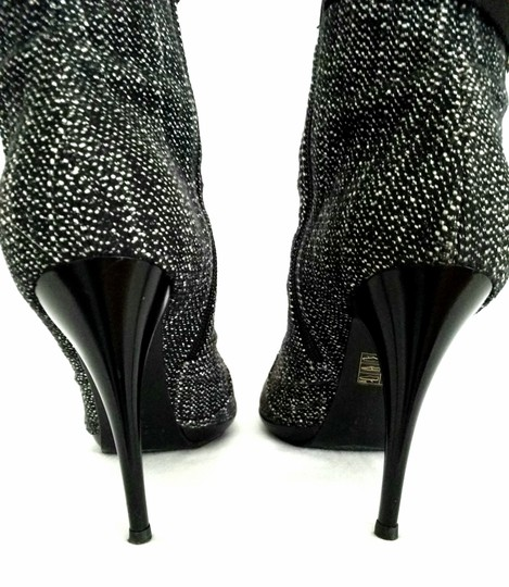 Casadei Ankle Tweed Rhinestone Black and white Boots Image 5