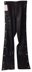 A.L.C. Leather Snaps Joggers Edgy Trouser Pants Black