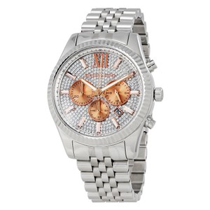 Michael Kors NEW UNISEX MICHAEL KORS (MK8515) LEXINGTON SILVER GLITZ CHRONO WATCH