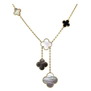 Van Cleef & Arpels VCA Magic Alhambra necklace, 6 motifs YG mother of pearl, Onyx