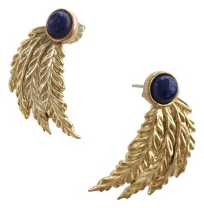 PAMELA LOVE Pamela Love Blue Lapis Feather Earrings