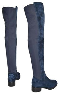 Tory Burch Riding Over The Knee Otk NAVY BLUE SUEDE Boots