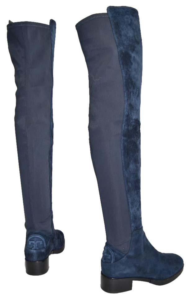 ee6f715a3aa Tory Burch Riding Over The Knee Otk NAVY BLUE SUEDE Boots Image 0 ...