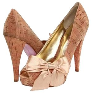 Paris Hilton Hilton Heels Ribbon Cork with Champagne Satin Bow Pumps