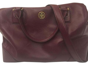 Tory Burch Leather Large Gold Satchel in Burgundy