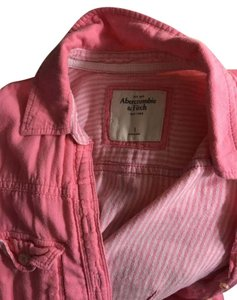 Abercrombie & Fitch Chanel Gucci Gold Button Down Shirt Pink and White