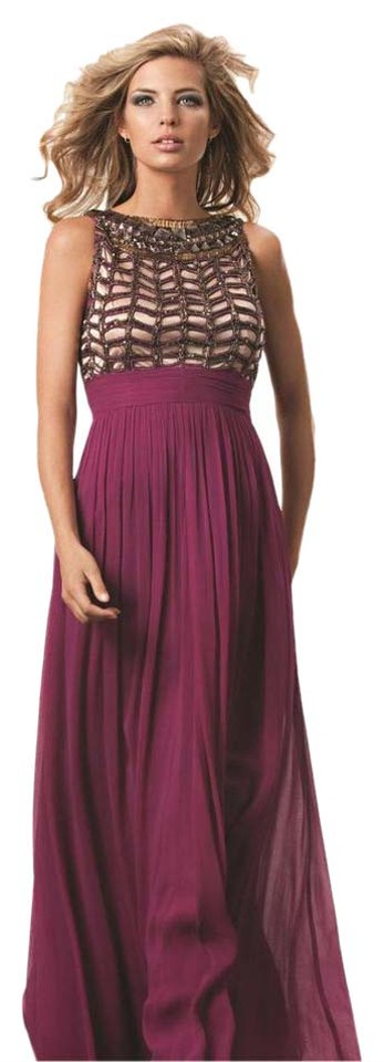 JS Collections Plum Embellished Chiffon Gown Long Formal Dress Size ...