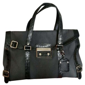 Prada Canvas Faux Leather Silver Tone Hardware Satchel in Black