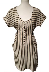 Charlotte Ronson short dress White and Black Stripes Belted Cotton on Tradesy