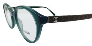Chanel Chanel Brown Quilting Green Round Eyeglasses 3298-Q c.1447 49