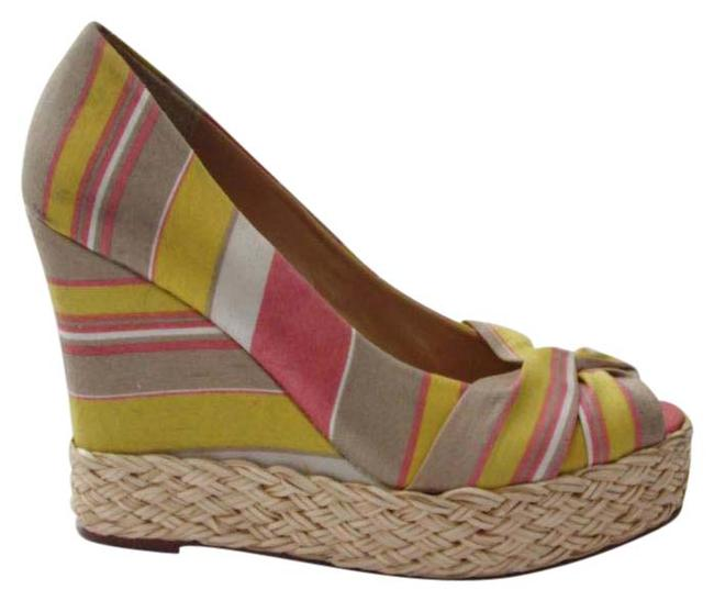 REPORT Multi Color Goldie Peep Toe Platform Pumps Striped Fabric Wedges Size US 7.5 Regular (M, B) REPORT Multi Color Goldie Peep Toe Platform Pumps Striped Fabric Wedges Size US 7.5 Regular (M, B) Image 1