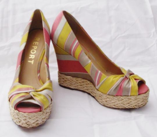 REPORT Platforms Goldie Striped Fabric Goldie Multi Color Wedges Image 1