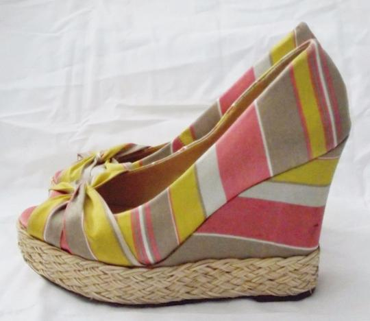 REPORT Platforms Goldie Striped Fabric Goldie Multi Color Wedges Image 3