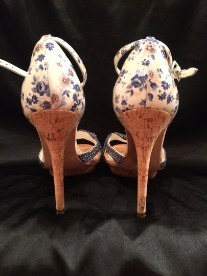 Gina Peters White / Blue Flowers / Blue Jewels Sandals