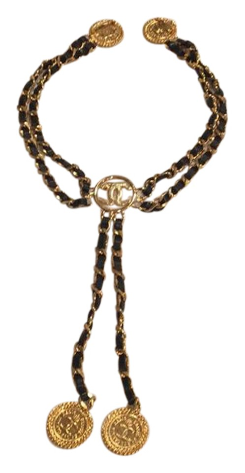 b6791ab00456 Chanel Vintage Chanel Leather Chain Medallion Chatelaine Triple Brooch  Image 0 ...