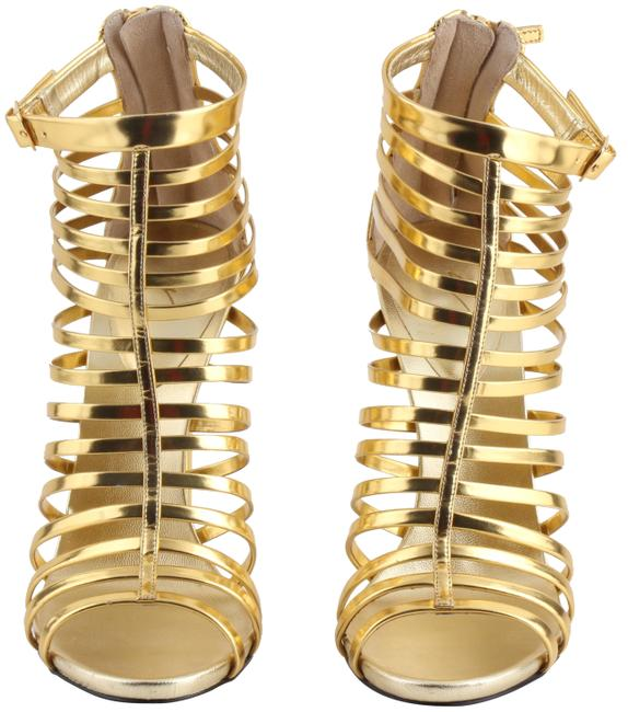 Giuseppe Zanotti Gold Mirrored Peep-toe Cage Boots/Booties Size US 10 Regular (M, B) Giuseppe Zanotti Gold Mirrored Peep-toe Cage Boots/Booties Size US 10 Regular (M, B) Image 1